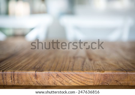 Wood table at restaurant - stock photo