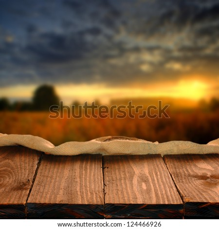 Wood table for your photo montage - stock photo
