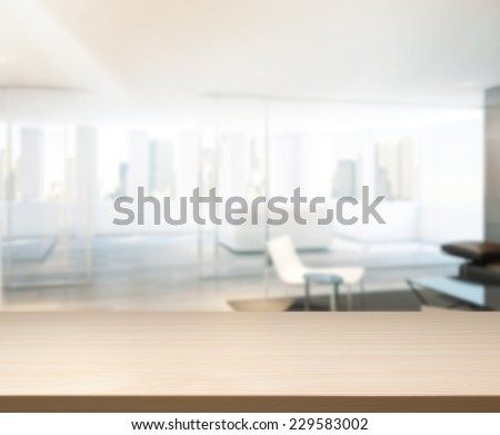 Wood Table Of Background in Office - stock photo