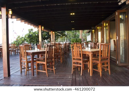 wood table restaurant in the terrace
