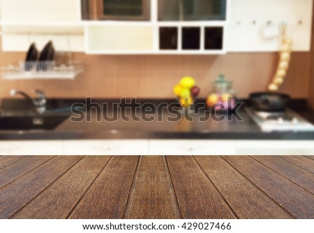 Kitchen Table Top Background wooden table on kitchen bench background stock photo 199097735