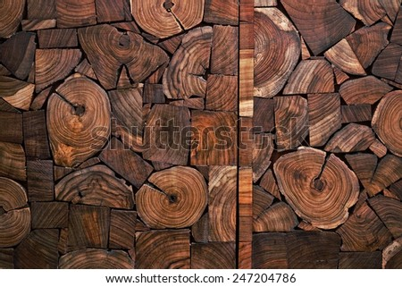 wood teak stump background - stock photo