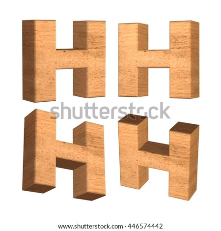 Wood texture capital letter H in 3d rendered on isolated white background.
