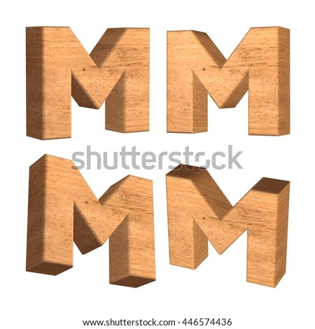 Wood texture capital letter M in 3d rendered on isolated white background.