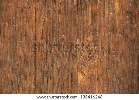 Wood texture - Old scratched oak table top - stock photo