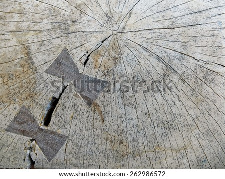 Wood Texture with Two Carved Ribbons - stock photo