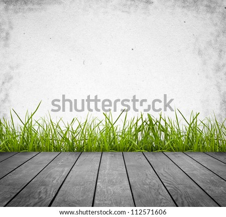wood textured backgrounds in a room interior on the grass backgrounds - stock photo