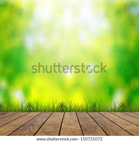 wood textured backgrounds in a room interior on the sky field backgrounds - stock photo