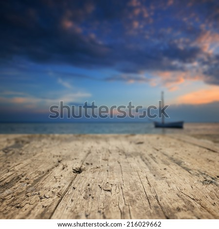 Wood textured backgrounds on the Baltic sea - stock photo