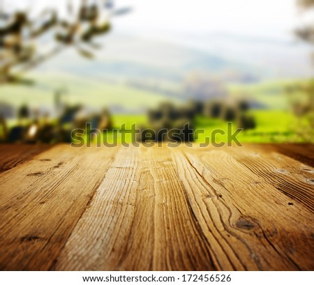 wood textured backgrounds on the tuscany landscape  - stock photo
