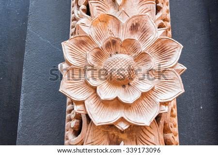 Wood Thai pattern Handmade wood carvings. Chiang Rai Thailand - stock photo