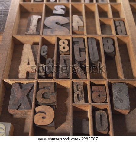 Wood Type in Drawer - stock photo