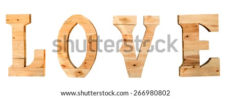 wood typography of love font isolate