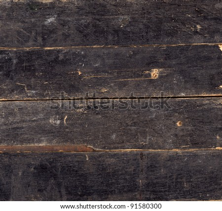 Wood vintage background of black painted plank - stock photo