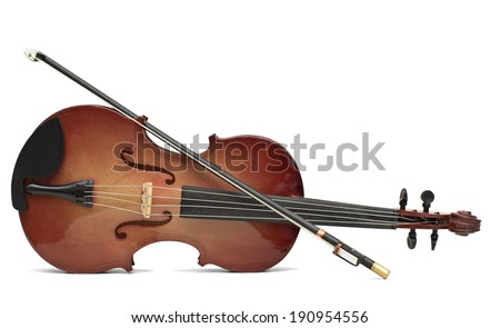 wood violin isolated over white - stock photo