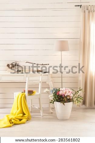 wood wall interior - stock photo