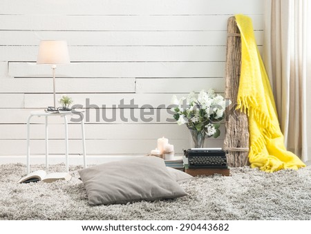 wood wall interior yellow warp  - stock photo