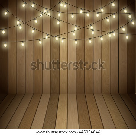 wood wall with festival light.