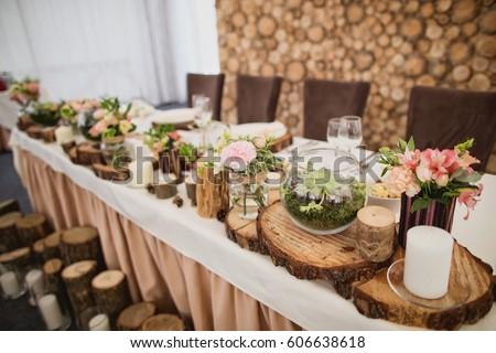 Wood wedding decor stock photo edit now 606638618 shutterstock wood wedding decor junglespirit Images