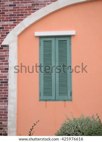 wood window - stock photo