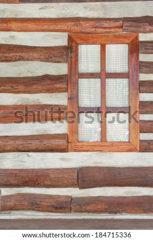 wood window and stripe wall - stock photo