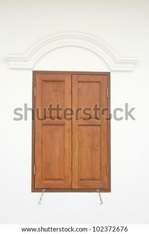wood window , Indonesia style - stock photo