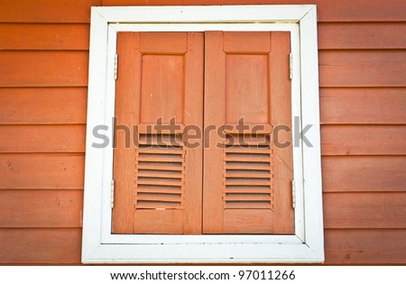 Wood windows. - stock photo