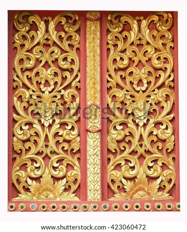 Wood windows carving and painted  of Thai temple - stock photo