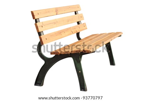 wood with metal bench isolated on white - stock photo