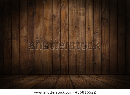 Wood.Wood room.Wood interior.Wood studio template. Old wooden background for montage or product presentation. 3D illustration - stock photo