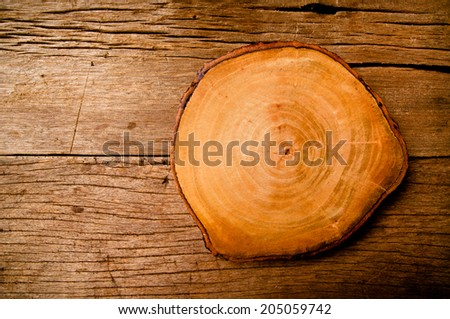 Wood Wooden Slice Cut on Wood Table Background Rustic Still life Style, for Carpenter Carpentry Concept and Idea for Background and Texture. - stock photo