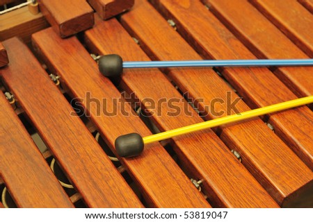 Wood xylophone and mallets. A photo close up. Original color - stock photo