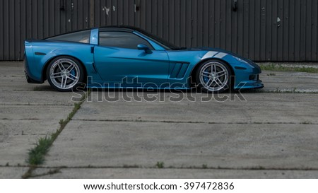 Woodbridge,NJ - May 2015: The Corvette Grand Sport as seen in Jetstream Blue. Side view  - stock photo