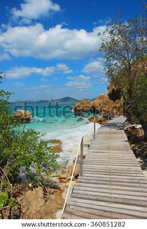 Woodbridge, walkway beside the sea, sight seeing, Koh Kham, Cholburi, Thiland - stock photo