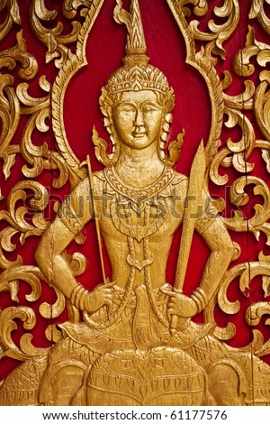 Woodcarving in Thai temple