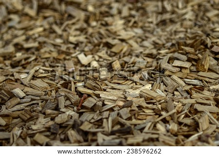 Woodchips ground in a park. - stock photo