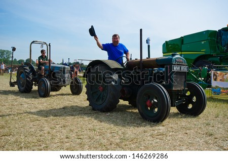 WOODCOTE,OXFORDSHIRE, ENGLAND-JULY 13th- a gathered amount of veteran and vintage vehicles show which had it's 50th anniversary at Woodcote Rally Fair on July 13, 2013 in Woodcote England. - stock photo