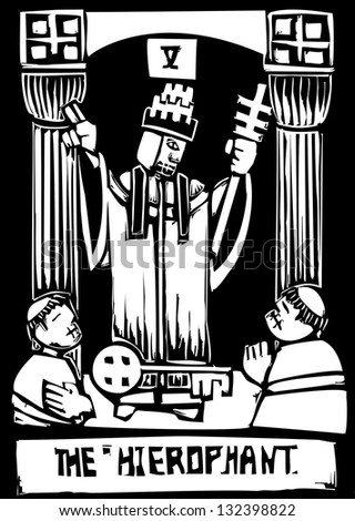Woodcut image of the Tarot Card for the Hierophant - stock photo