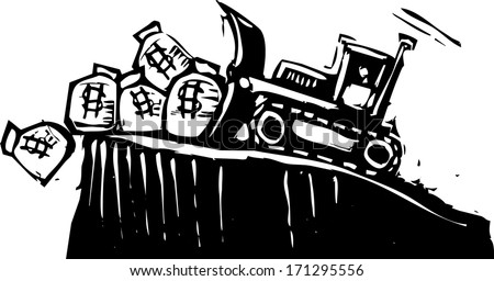 Woodcut style image of a bulldozer pushing money bags off a cliff. - stock photo