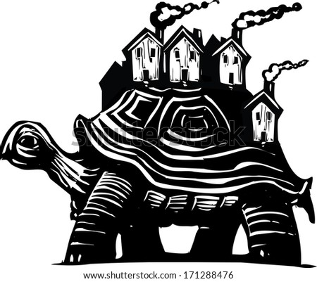 Woodcut style image of a turtle carrying a town of houses on his back.