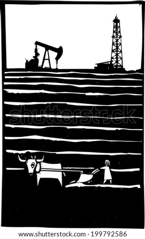 Woodcut style image of an oil well by a primitive impoverished farm. - stock photo