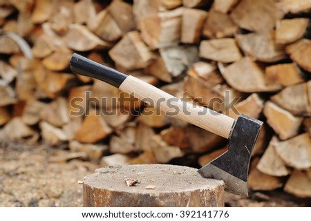 woodcutter axe - stock photo