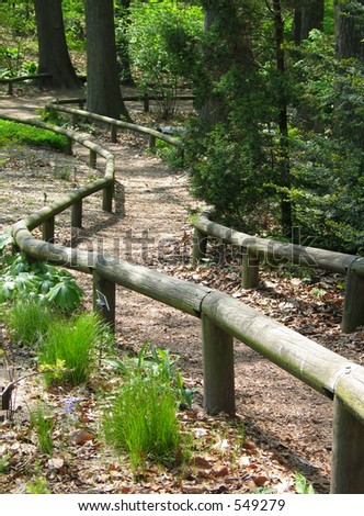 Wooded Path with Log Railing