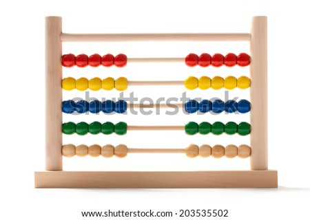 Wooden abacus in position equally divided on white background