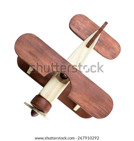 Wooden airplane model top view isolated - stock photo