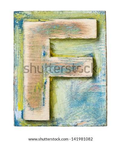 Wooden alphabet block, letter F - stock photo