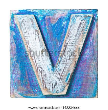 Wooden alphabet block, letter v - stock photo