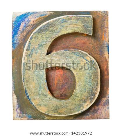 Wooden alphabet block, number 6 - stock photo