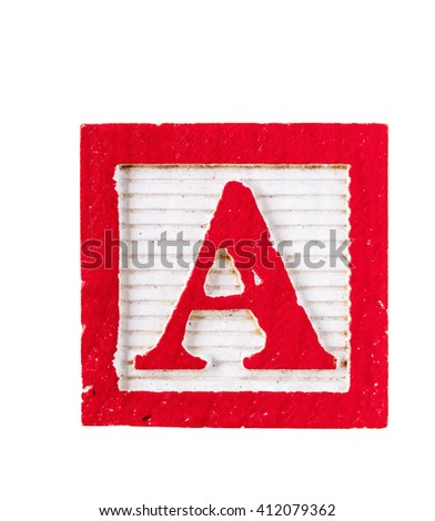 Wooden alphabet block with letter A isolated on white