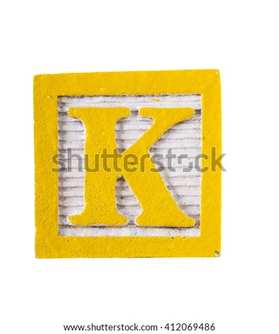 Wooden  alphabet block with letter K isolated on white - stock photo